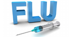 The word flu with a syringe underneath it